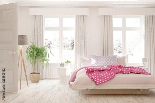 White stylish minimalist bedroom. Scandinavian interior design. 3D illustration - 255805182