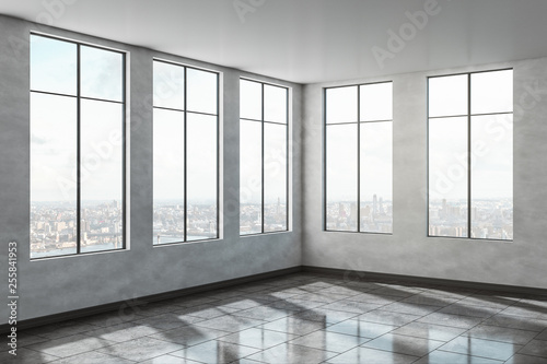 Leinwanddruck Bild Contemporary concrete office interior