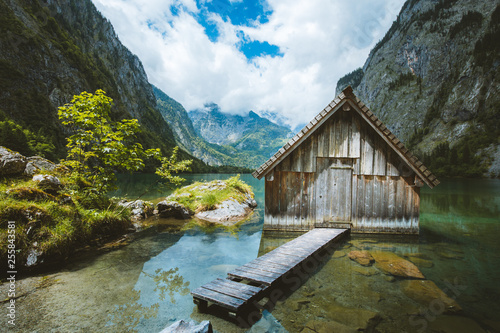 Leinwandbild Motiv Old boat house at Lake Obersee in summer, Bavaria, Germany