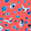 Leinwandbild Motiv Watercolor seamless pattern with cranes and flowers. Hand drawn illustration
