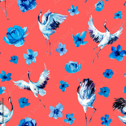 Watercolor seamless pattern with cranes and flowers. Hand drawn illustration - 255845317