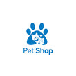 Pet Shop logo design template. Graphic domestic animal icon label for veterinary clinic