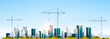 modern city construction site tower cranes building residential buildings cityscape sunset skyline background flat horizontal banner
