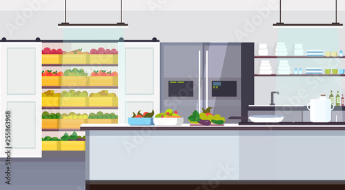 modern commercial restaurant kitchen interior with healthy food fruits and vegetables cooking and culinary concept empty no people horizontal flat - 255863968