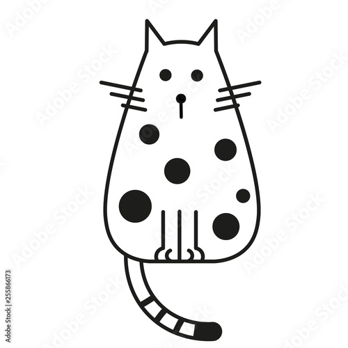 fototapeta na ścianę cat black and white line art illustration