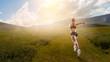 Sportswoman run race. Mixed media