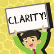 Text sign showing Clarity. Business photo text Certainty Precision Purity Comprehensibility Transparency Accuracy Young Smiling Student Raising Upward Blank Framed Whiteboard Above his Head