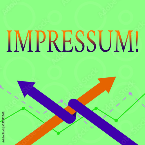 Conceptual hand writing showing Impressum. Concept meaning Impressed Engraved Imprint Geranalysis statement ownership authorship Two Arrows One Intertwined to Other Team Up or Competition