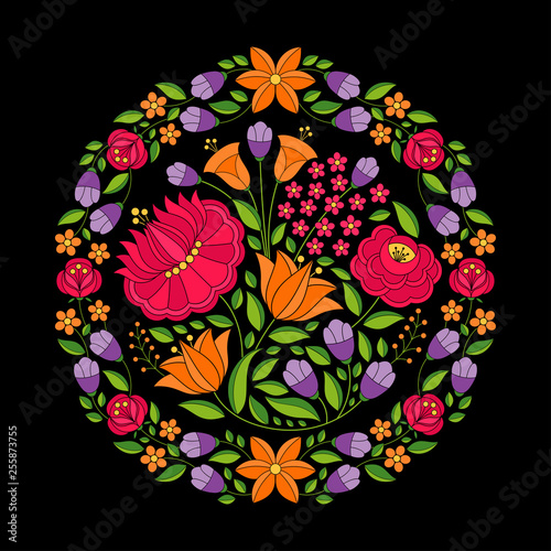 Hungarian folk pattern vector. Kalocsa floral ethnic ornament. Slavic eastern european circle print on black background. Vintage traditional flower design for home textile embroidery, holiday cards. © irinelle