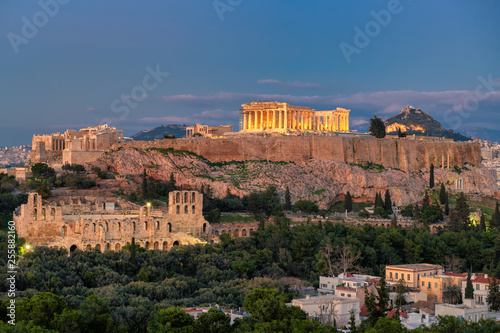 The Acropolis of Athens, with the Parthenon Temple at night, Athens, Greece.