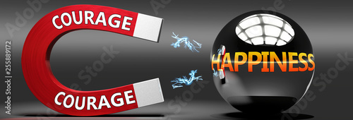 Courage leads to happiness, joy and pleasure - this abstract idea is pictured as a red magnet with two big Courage logo attracting a shiny, metal sphere with word happiness., 3d illustration