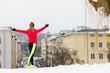 Woman exercising during winter