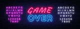 Game Over neon text vector design template. Game Over neon logo, light banner design element colorful modern design trend, night bright advertising, bright sign. Vector. Editing text neon sign