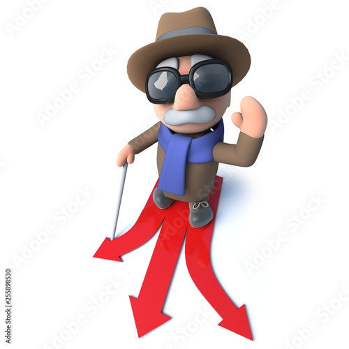 Funny 3d cartoon blind man character choosing which direction to travel © Steve Young