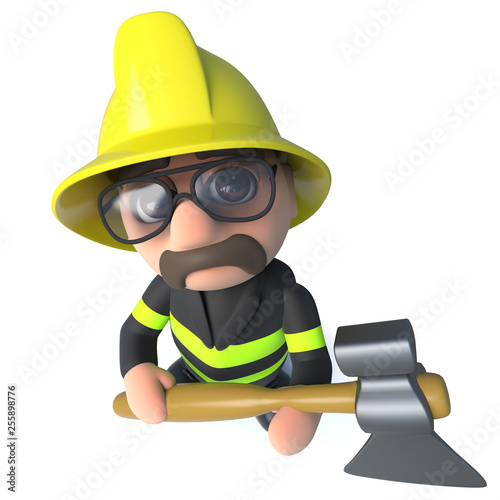 Funny 3d cartoon firefighter fireman character holding an axe © Steve Young
