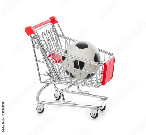 Soccer ball in shopping cart - 255904327