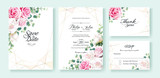 Pink and white rose flowers Wedding Invitation, save the date, thank you, rsvp card Design template. Vector. Silver dollar eucalyptus leaves, Ivy plants.