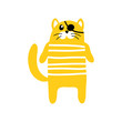 vector color funny cute cartoon cat on white background - 255908770
