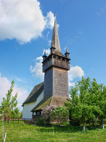 Gothic Reformed church with bell tower in village Chetfalva, Ukraine