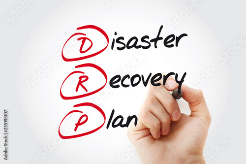 Hand writing DRP - Disaster Recovery Plan with marker, acronym business concept © dizain
