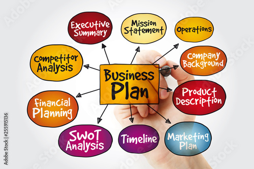 Business plan management mind map with marker, strategy concept © dizain