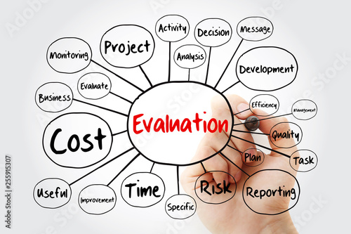 Evaluation mind map flowchart with marker, business concept for presentations and reports © dizain
