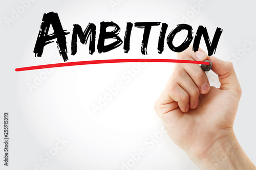 Ambition text with marker, concept background © dizain