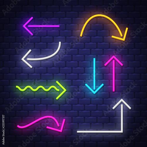 Big collection neon arrows. Neon arrows symbols design elements.