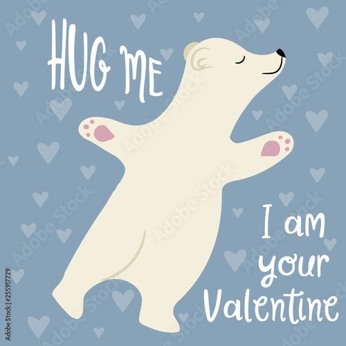 Cute Valentine's day card with polar bear