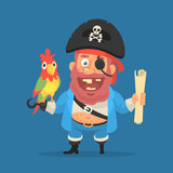 Pirate holds parrot and treasure map. Funny character