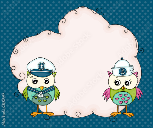 Background with blank cloud label and couple sailor owls