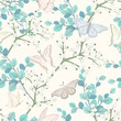 seamless pattern with butterflies and white flowers - 255929919