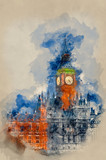 Watercolour painting of Big Ben in London at twilight