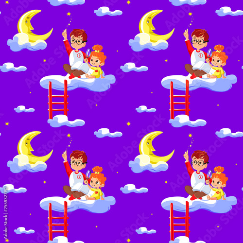 obraz PCV Seamless children pattern with cute boy and little girl, clouds, stars and moon. Creative kids texture for fabric, wrapping, textile, wallpaper, apparel. Concept of children's learning.