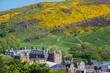 Leinwanddruck Bild - Holyrood Palace und Arthur´s Seat m Fruehling