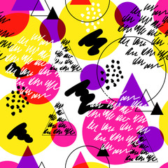 Seamless abstract bright pattern in memphis style. Wrapping paper, textile, background fill. © tanyapligina