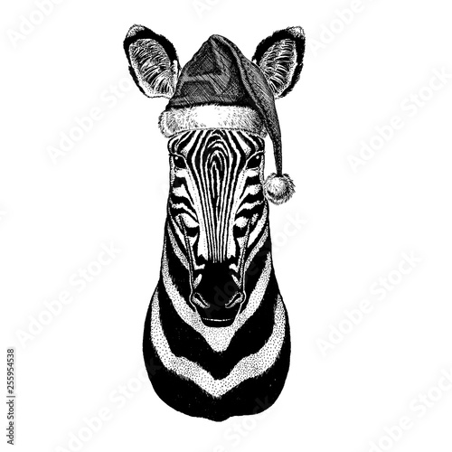 Zebra Horse Camelopard, giraffe wearing christmas Santa Claus hat. Hand drawn image for tattoo, emblem, badge, logo, patch - 255954538
