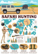 Hunting infographics, safari hunter and equipment