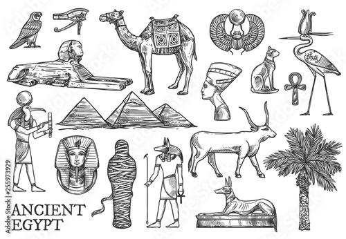 Ancient Egypt icons, Gods and landmark sketches © Vector Tradition