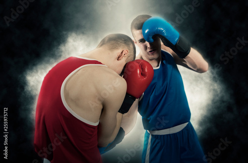 Box professional match on dark background