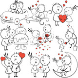 collection cartoon figure lovers in different poses with red heart, stick man