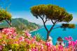 Leinwanddruck Bild - Amalfi Coast with Gulf of Salerno from Villa Rufolo gardens in Ravello, Campania, Italy