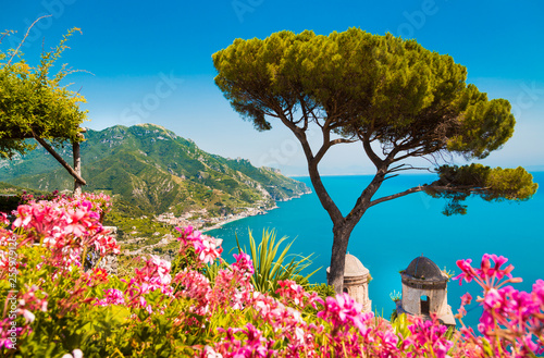 Leinwanddruck Bild Amalfi Coast with Gulf of Salerno from Villa Rufolo gardens in Ravello, Campania, Italy