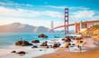 Leinwanddruck Bild - Golden Gate Bridge at sunset, San Francisco, California, USA