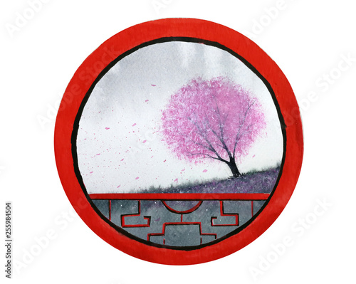 watercolor landscape hill and cherry blossom tree or sakura flower looking view through round frame chinese window.isolated on white background. © atichat