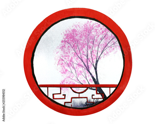 watercolor traditional landscape hill and cherry blossom tree or sakura flower looking view through round frame chinese window.isolated on white background. © atichat