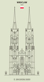 St. John Cathedral Church in Wroclaw, Poland. Landmark icon