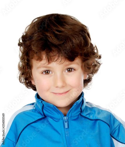 Funny boy wearing blue tracksuit
