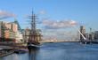 View of the river Liffey, Samuel Beckett Bridge and Jeanie Johnston Famine ship in Dublin. Ireland  - 256006317