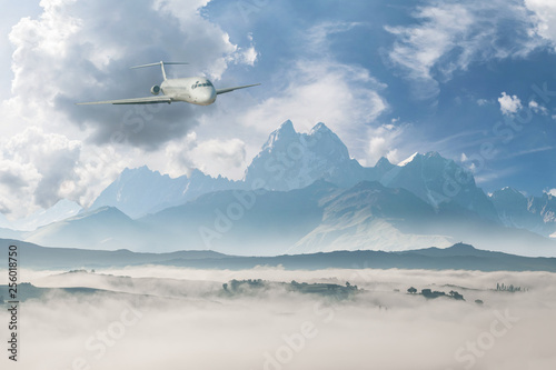 Landscape with commercial airplane